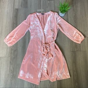 J. Crew Wrap Dress Drapey Velvet Seashell Pink 6